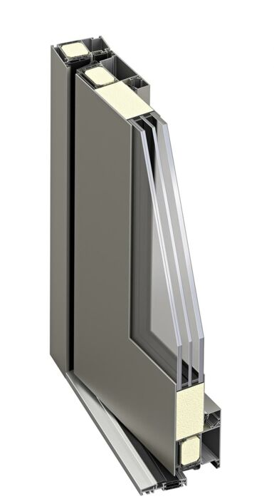 Cross section of ATRIS-style aluminium entrance door from Weru